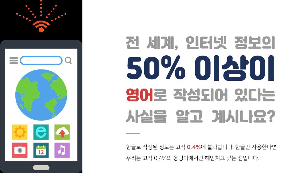 전 세계, 인터넷 정보의 50% 이상이 영어로 작성되어 있다는 사실을 알고 계시나요? 한글로 작성된 정보는 고작 0.4%에 불과합니다. 한글만 사용한다면 우리는 고작 0.4%의 웅덩이에서만 헤엄치고 있는 셈입니다.
